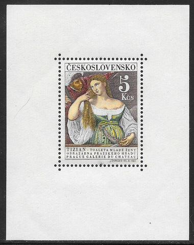 "Czechoslovakia 1336 MNH -  Hradcany Art Gallery - ""Young Woman at her Toilette"" by Titian"