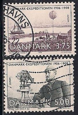 Denmark 1004-1005 Used - Europa - Johan Peter Koch - Cartographer