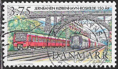 Denmark 1075 Used - ‭Copenhagen - Roskilde Railway, 150th Anniversary - 2 Modern Trains