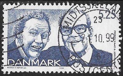 Denmark 1158 Used - ‭‭‭Danish Revue, 150th Anniversary - ‭‭Preben Kaas and Jorgen Ryg, Comedians, Singers