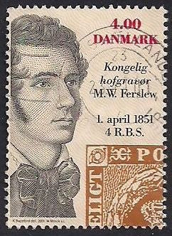 Denmark 1198 Used - ‭Engraver Martinus Willam Ferslew - Socked on the Nose