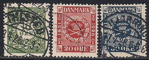 Denmark 178-180 Used -  75th Anniversary of Postal Stamps