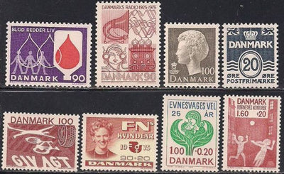 Denmark 8 Different MNH Stamps