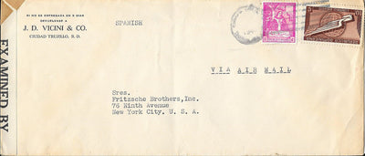 Dominican Republic 385 & C41 Censored Cover - 1942