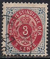Danish West Indies 6e Used - Inverted Frame - Numeral
