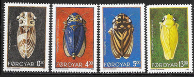 Faroe Islands 276-279 MNH - ‭‭Insects - Leafhoppers