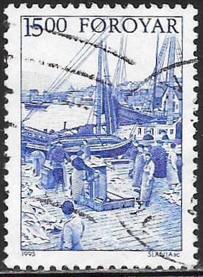 Faroe Islands 292 Used - ‭Early Folk Life - ‭Schooners, Saltfish Being Brought Ashore