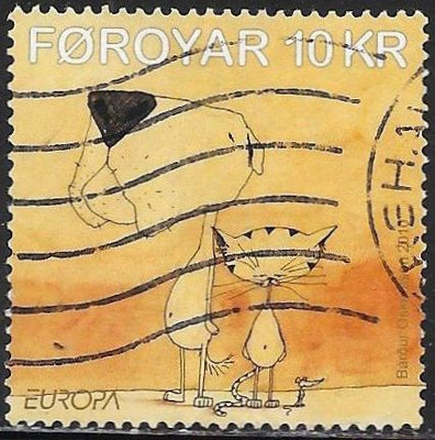 Faroe Islands 536 Used - Europa - ‭Scenes From Children's Books - ‭A Dog, A Cat and A Mouse, by Bárður Oskarsson