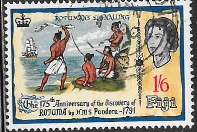 Fiji 223 Used - Discovery of Rotuma 175th Anniversary - Islanders Welcoming Pandora - Elizabeth II