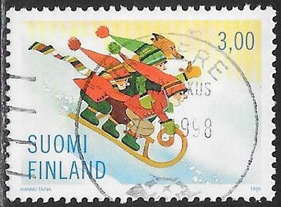Finland 1096 Used - Christmas - ‭ ‭Children, Dog Riding Sled