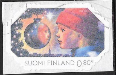 Finland 1504 Used - Christmas - Child Looking at Ornament - On Paper