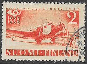 Finland 217 Used -‭ ‭300th Anniversary of the Finnish Postal System - Airplane