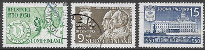Finland 297-299 Used - ‭400th Anniversary of the Founding of Helsinki