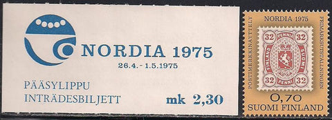 Finland 571 MNH - Block of 4 - Incl. Ticket - Nordia 1975