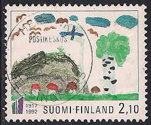 Finland 896 Used - Child Art - Socked on the Nose