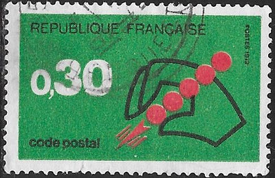 France 1345 Used - ‭‭Hand Holding Symbol of Postal Code