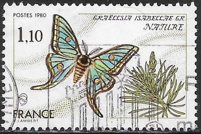 France 1708 Used - Butterfly - Spanish Moon Moth (‭Graellsia Isabellae)