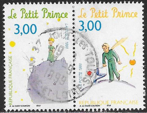 "France 2668c-2668d Used - ‭""The Little Prince,"" by Antoine de Saint Exupery - Socked on the Nose"