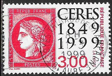 France 2693 Used -‭French Postage Stamps, 150th Anniversary - Socked on the Nose