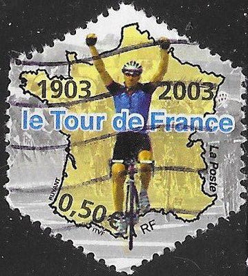 France 2968b Used - ‭Tour de France Bicycle Race, Centenary - Cyclist with Arms Raised