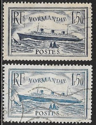 France 300 Used & 300a CTO (Paper on Back) - S.S. Normandy