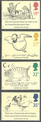 Great Britain 1226-1229 & 1229a MNH - Edward Lear