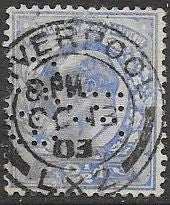 Great Britain 131 Used - Perfin - Edward VII