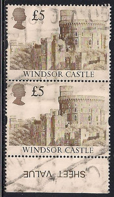 Great Britain 1448 Used - £5 Windsor Castle - Pair/Selvedge