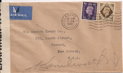 Great Britain 240 & 248 Cover to United States - Censored - George VI