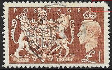 Great Britain 289 Used - George VI - Royal Arms - Corner Tear