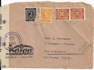 Germany 531 & 546 & 544 Cover - Front Only - British Censor