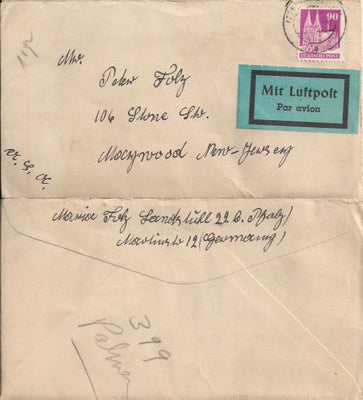 Germany 657 Cover - Letter Enclosed - to Maywood, NJ USA