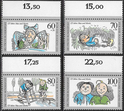 Germany B689-B692 MNH -‭ ‭Max and Moritz, by Wilhelm Busch, 125th Anniversary