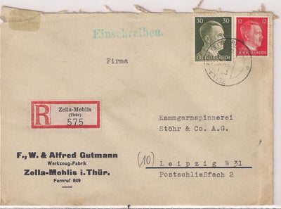 Germany Registered Cover 1944 - Zella-Mehlis to Leipzig