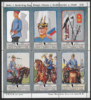 Germany Poster Stamps - Uniforms - Some Folds - Some Separation