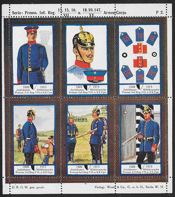 Germany Poster Stamps - Uniforms - Some Folds