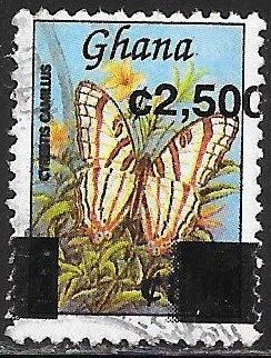 Ghana 2360A Used - ‭Butterfly - Cyrestis camillus - African Map Butterfly - Overprint Shift