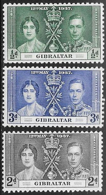 Gibraltar 104-106 Unused/Hinged Hinge Remnant - George VI Coronation