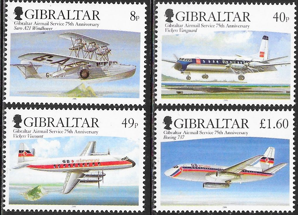 Gibraltar 1048-1051 MNH - ‭Airmail Service, 75th Anniversary