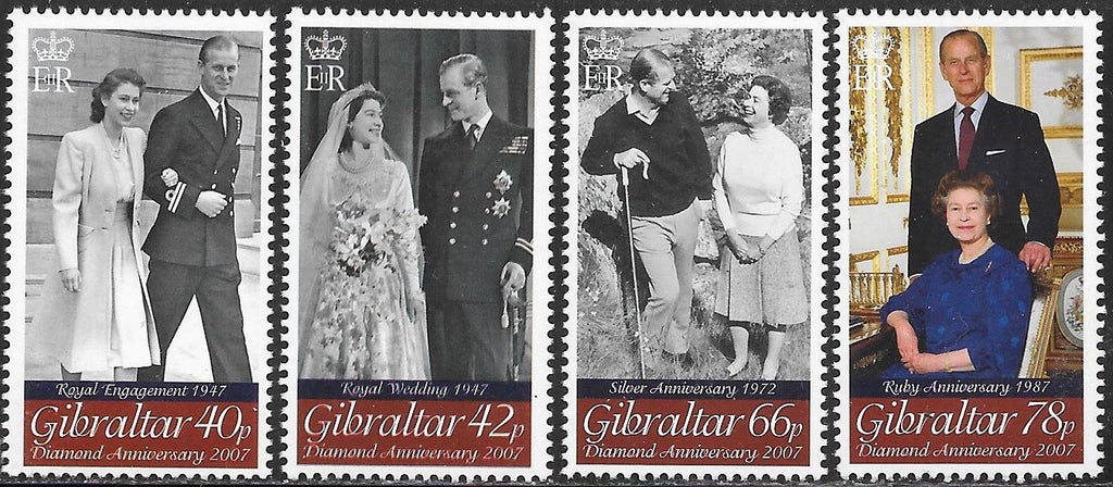 Gibraltar 1067-1070 MNH - ‭Wedding of Queen Elizabeth II and Prince Philip, 60th Anniversary