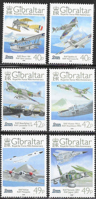 Gibraltar 1135-1140 MNH - ‭Royal Air Force, 90th Anniversary