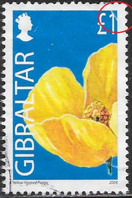 Gibraltar 991 Used - Flowers - Yellow Horned Poppy - Crease