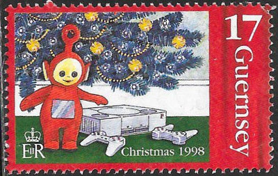 "Guernsey 664 Used - ‭‭Christmas - Toys - ‭Teletubby ""Po"" & Video Game Machine"