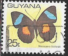 Guyana 283 Used - Butterfly - Bates Olivewing