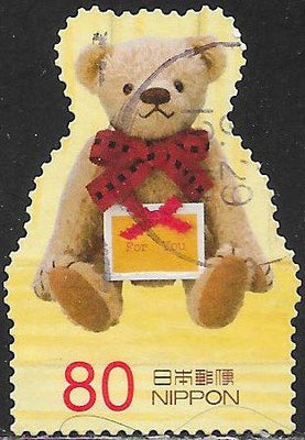 Japan 3471c Used - ‭Teddy Bears - Bear With Card With Red Ribbon