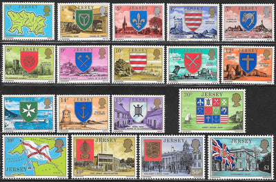 Jersey 137-155 MNH - Coat of Arms - Flags - Elizabeth II