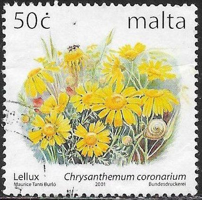 Malta 1065 Used - ‭Flowers - Garland Chrysanthemum (‭Chrysanthemum coronarium)