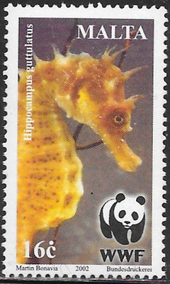 Malta 1073 Used - ‭World Wildlife Fund for Nature - Seahorses (Hippocampus guttulatus)