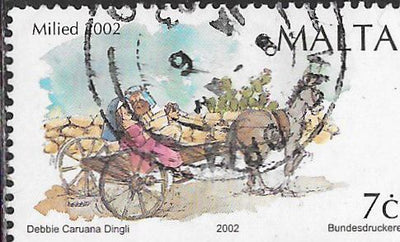 Malta 1102 Used - ‭Christmas - ‭Mary & Joseph in Donkey Cart