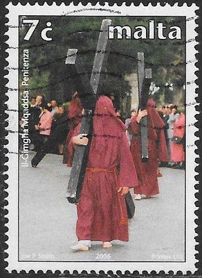 Malta 1239 Used - ‭Traditional Holy Week Celebrations - Men Carrying Crosses